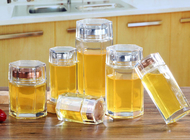 Small Glass Honey Jars / Transparent Glass Storage Jars For Cosmetic With Lid