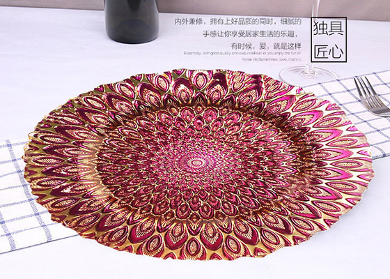 Ręcznie robiony Peacock Plating Glass Fruit Plate / Round Glass Plate For Bread